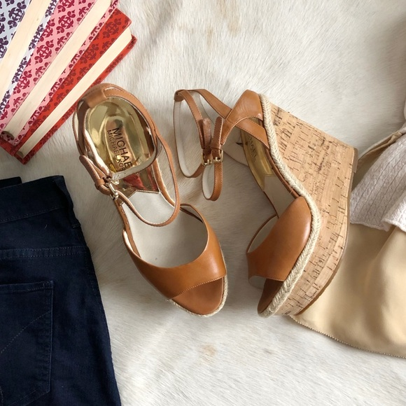 4c35a5b2c82 Michael Kors Gabriella Leather and Cork Wedges